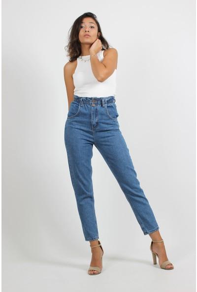 Alpinteks Kadın Açık Mavi Beli Lastikli Yüksek Bel Mom Jeans