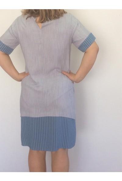 Ultimod Mavi Düğme Detaylı Çizgi Garnili Büyük Beden Kadın Elbise ULT3130