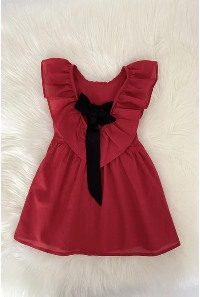 Colored Baby Kız Çocuk Arkası Fiyonk Detaylı Kırmızı Elbise