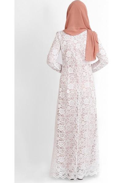 Tb Tesettür Dantel Abiye Elbise Pudra Beyaz Tn33 3424009