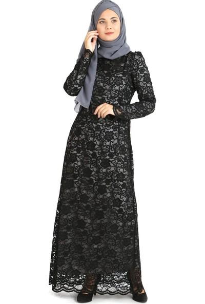 Tb Tesettür Dantel Abiye Elbise Siyah Tn33 3424009