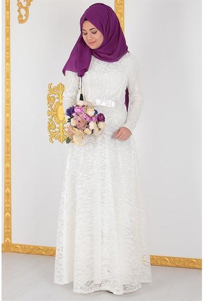 Fahima Dantel Abiye Elbise Ekru Fhm396