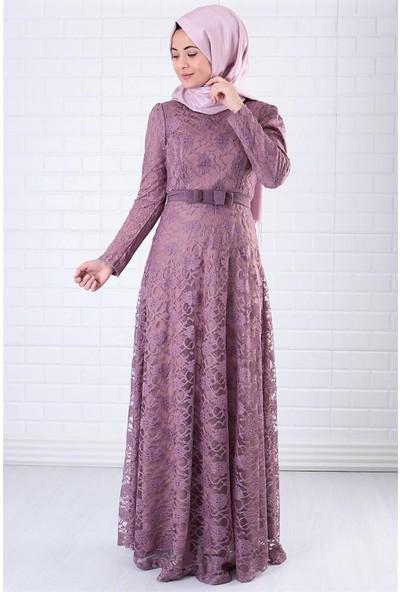 Fahima Dantel Abiye Elbise Lila Fhm396
