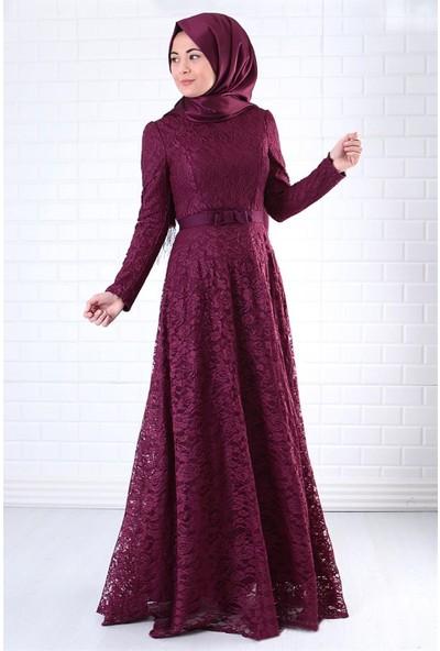 Fahima Dantel Abiye Elbise Mürdüm Fhm396