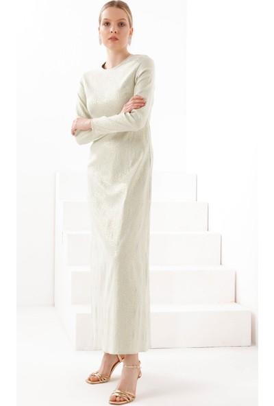 Tb Tesettür Jakarlı Simli Abiye Elbise Mint- Tn334 3424038