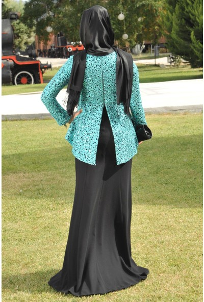 Fahima Peplum Abiye Mint Fhm635