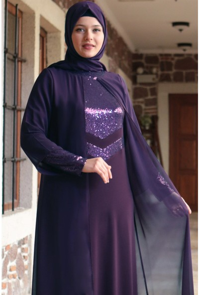 Fahima Şule Abiye Elbise Mor Fhm640