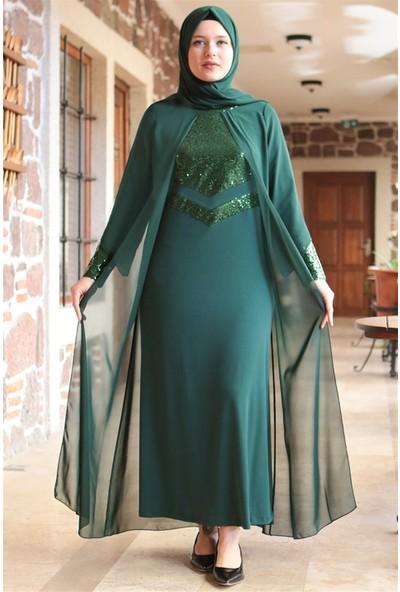 Fahima Şule Abiye Elbise Zümrüt Fhm640