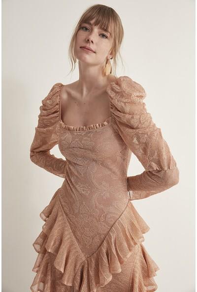 Join Us Fırfırlı Balon Kol Çiçekli Simli Triko Elbise