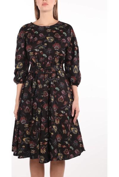 Markapia Sıfır Yaka Çiçek Desenli Uzun Kol Elbise Siyah Standart
