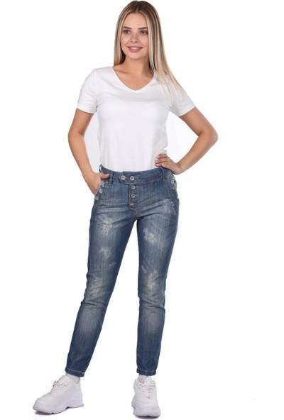 Blue White Kadın Düğmeli Şalvar Pantolon