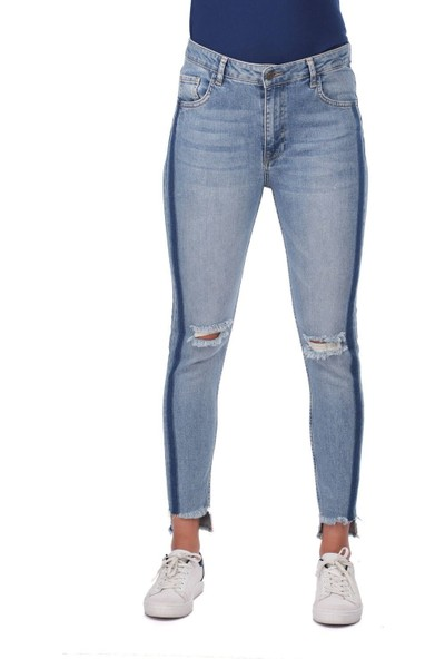 Blue White Kadın Çizgi Detaylı Kot Pantolon