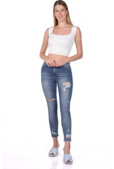 Blue White Kadın Paça Yırtık Kot Pantolon