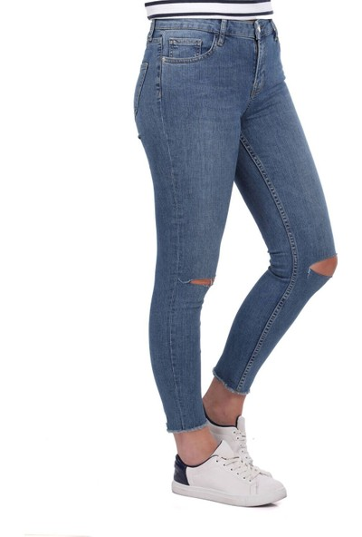 Blue White Kadın Dizi Yırtık Kot Pantolon