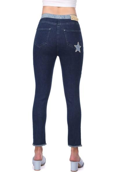Blue White Kadın Yıldız Detaylı Pantolon