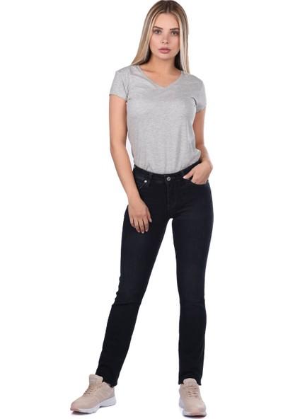 Blue White Kadın Regular Fıt Siyah Kot Pantolon