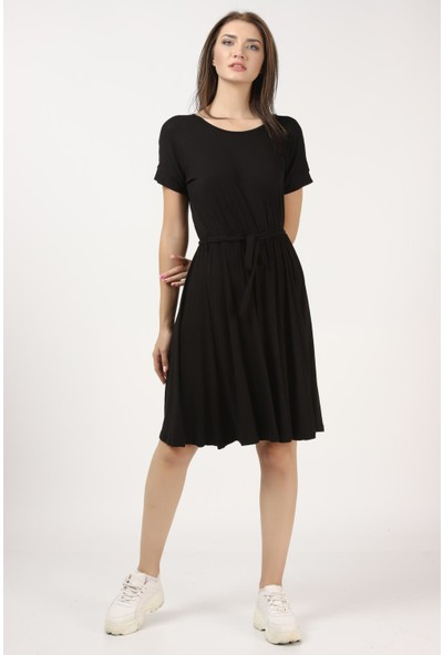 Tena Kadın Siyah Beli Büzgülü Elbise