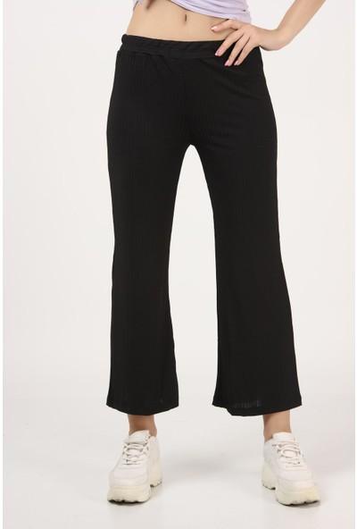 Tena Kadın Siyah Piliseli Ispanyol Paça Pantolon