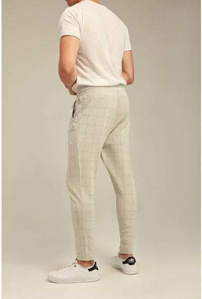 Tarz Cool Krem Çizgili Slim Fit Jogger Pantolon-Jggr001R03