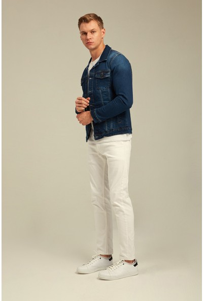 Tarz Cool Lacivert Denim Slim Fit Kot Ceket-Dzcktr01