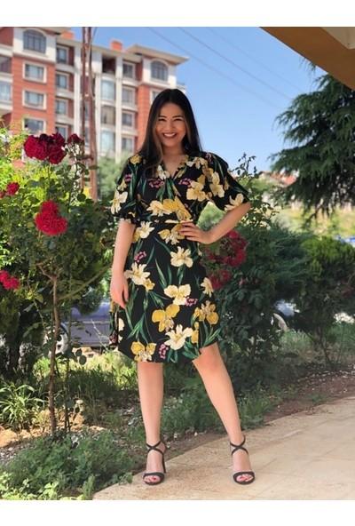 Melike Albayrak Butik Çiçekli Kruvaze Elbise