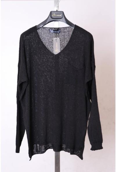 Aclassics V Yaka Cep Detaylı Siyah Salaş Örme Triko Bluz
