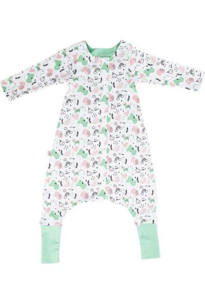 Woolnat Merino Yün Yeni Çift Katlı Uzun Kollu Çocuk Uyku Tulumu Yeşil 1 - 2 Yaş