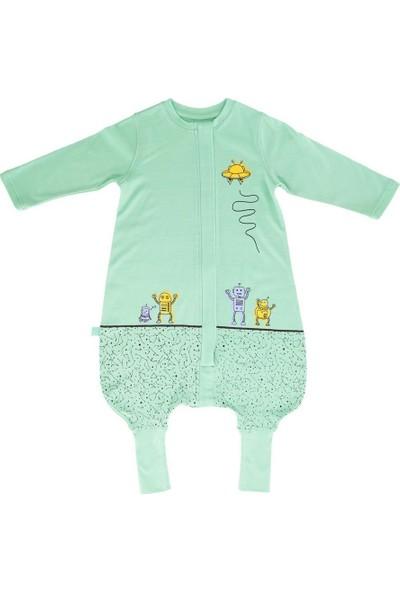 Woolnat Merino Yün Yeni Uzay Baskılı Uzun Kollu Çocuk Uyku Tulumu Yeşil 5 - 6 Yaş