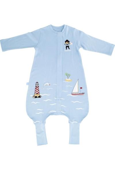 Woolnat Merino Yün Marine Temalı Uzun Kollu Tek Katlı Çocuk Uyku Tulumu Mavi 1 - 2 Yaş