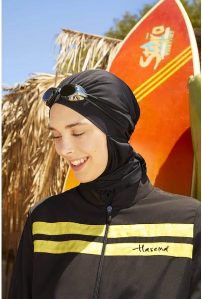 Haşema Sarı Şeritli Siyah Tam Kapalı Tesettür Mayo H-2833-20