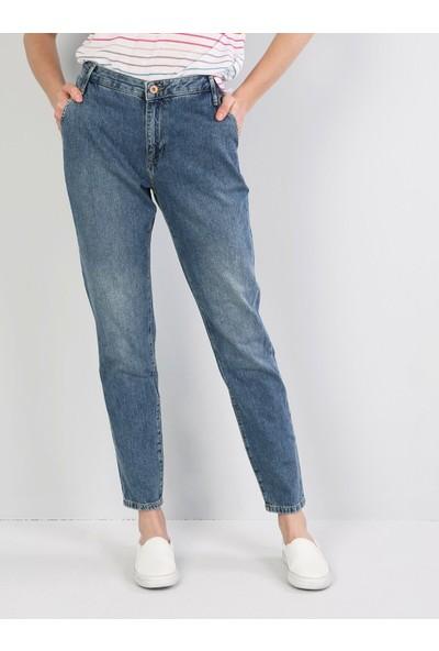 Colins Tesa Chıno Orta Bel Rahat Kesim Paça Kadın Jean Pantolon