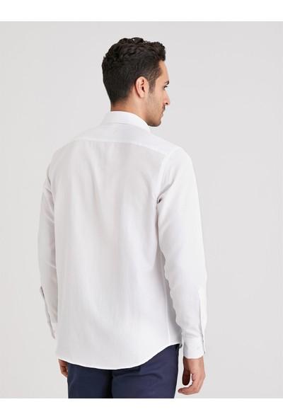 Dufy Beyaz Baskı Erkek Gömlek Regular Fit