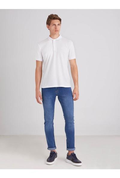 Dufy Beyaz Düz Pamuklu Pike Erkek T-Shirt Slim Fit