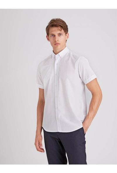 Dufy Beyaz Jakar Kısa Kol Pamuklu Karışımlı Erkek Gömlek Regular Fit