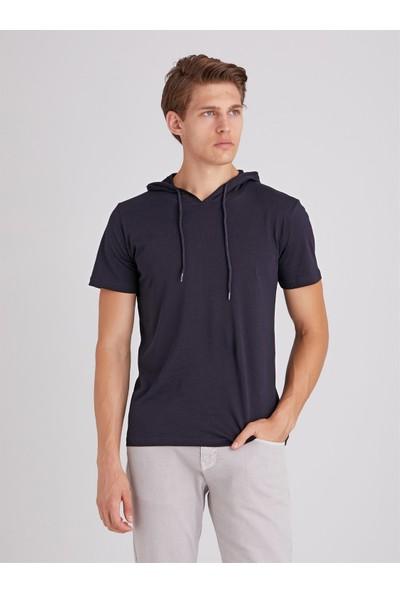 Dufy Lacivert Kapüşonlu Kısa Kol Pamuklu Erkek T-Shirt Modern Fit