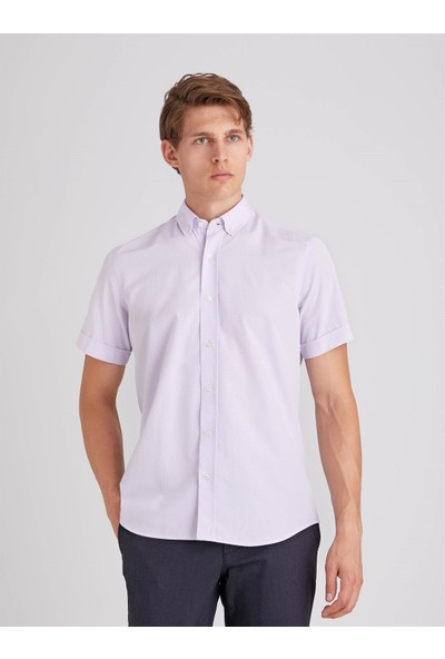 Dufy Lila Jakar Kısa Kol Pamuk Karışımlı Erkek Gömlek Regular Fit