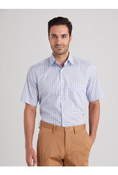 Dufy Mavi Ekose Erkek Gömlek Regular Fit