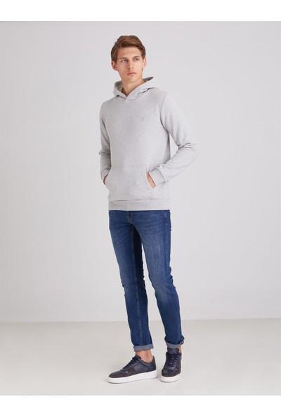 Dufy Koyu Gri İçi Polarlı Kapüşonlu Erkek Sweatshirt Modern Fit