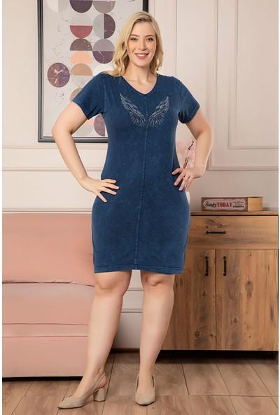 1fazlası Kadın Büyük Beden Yıkamalı Denim Görünümlü Sırt Detaylı Elbise Lacivert 48