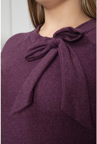 1fazlası Kadın Büyük Beden Kravat Yaka Belden Oturtmalı Mürdüm Elbise Mürdüm 50 - 52