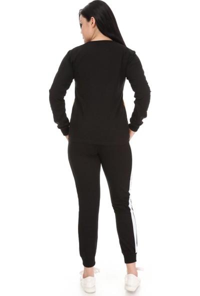 Pul Payet Detaylı Uzun Kollu Battal Beden (Büyük Beden) Eşofman Takımı Sarı