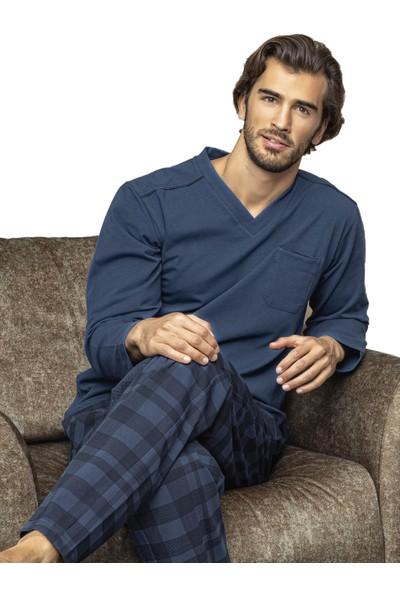 Kly 7020 Erkek Kışlık V-Yaka Pijama Takım