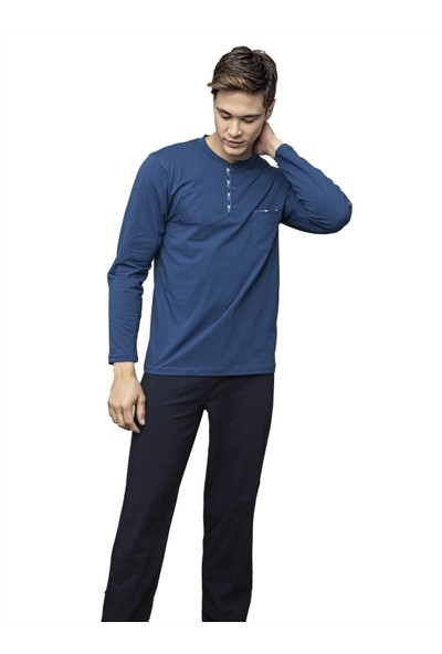 Kly 7106 Erkek 4 Mevsim Uzun Kol Pijama Takım