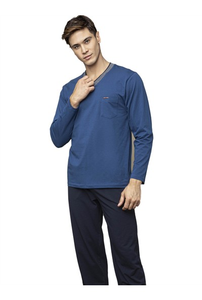 Kly 7111 Erkek Kışlık V-Yaka Pijama Takım