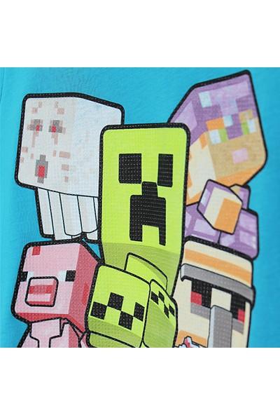 Mojang Minecraft Silikon Baskılı Erkek Çocuk T-Shirt 4 - 12 Yaş Mavi