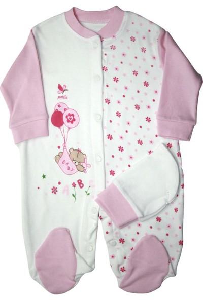 Pattic Baby Kız Bebek Çiçek Baskılı Tulum Pembe Yenidoğan