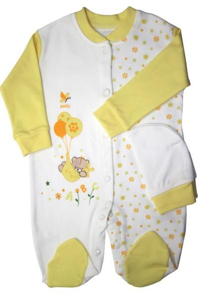 Pattic Baby Kız Bebek Çiçek Baskılı Tulum Sarı Yenidoğan