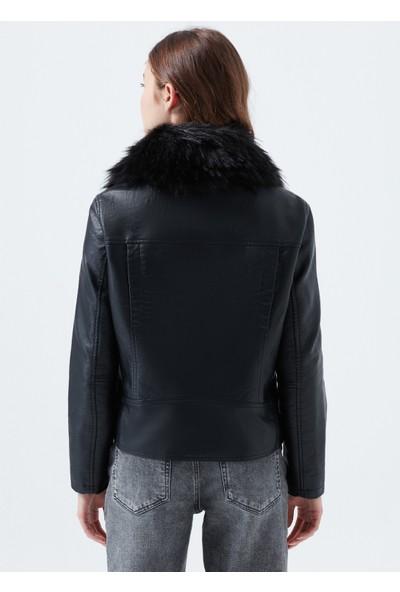 Mavi Kadın Kürklü Biker Ceket 110682-900