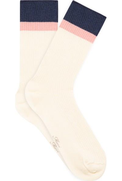 Mavi Kadın Bileği Renkli Bej Soket Çorap 197954-620