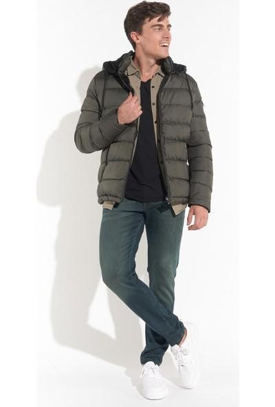 Z Giyim Erkek Haki Kapşonlu Şişme Mont